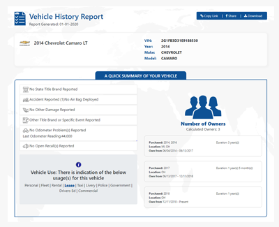 Vehicle History Report on 2014 Chevrolet Camaro