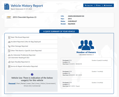 Vehicle History Report on 2013 Chevrolet Equinox