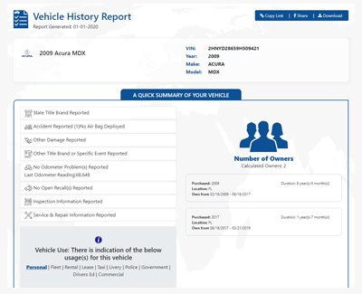 Vehicle History Report on 2009 Acura MDX